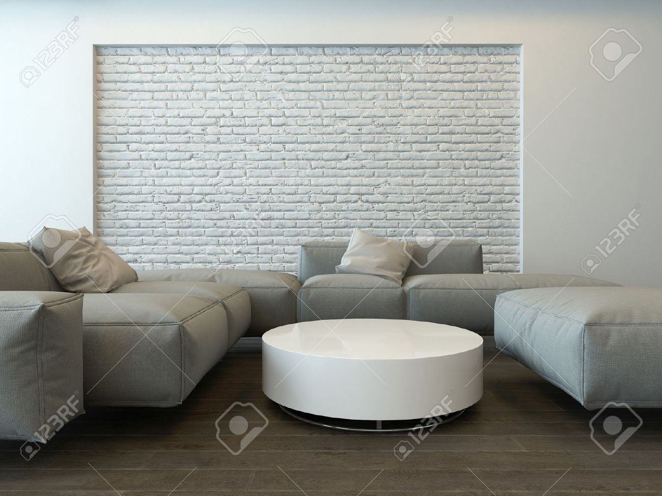 Tranquil Modern Grey Living Room Interior With Comfortable Corner Couches A Round White Table And