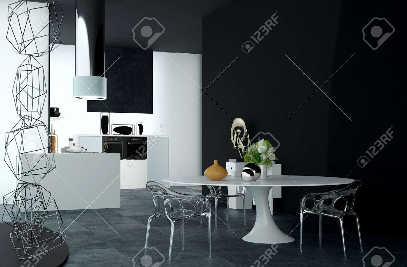 Diseño Arquitectónico Moderno De Un Decorado Elegante Mesa De ...