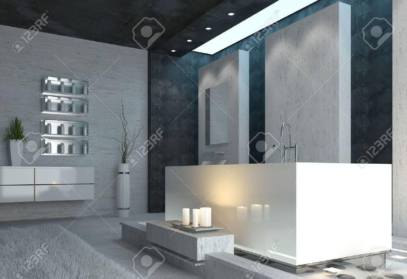 Luxus Badezimmer Interieur Mit Brennenden Kerzen Und Elegant Grau, Schwarz  Und Weiß Moderne Einrichtung