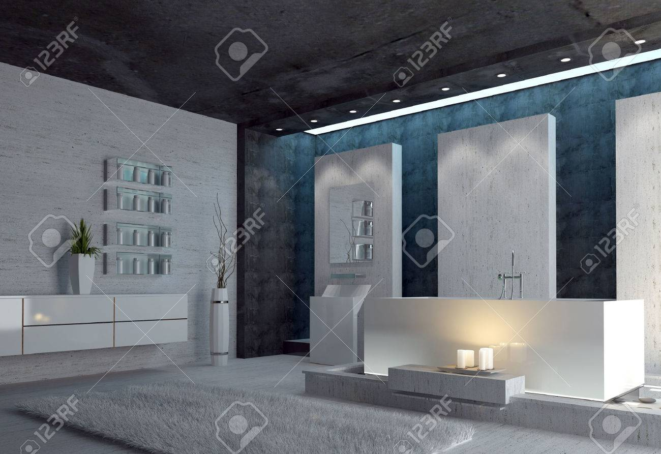 3d Render Of A Spacious Black And White Modern Bathroom Interior With  Glowing Candles Alongside The
