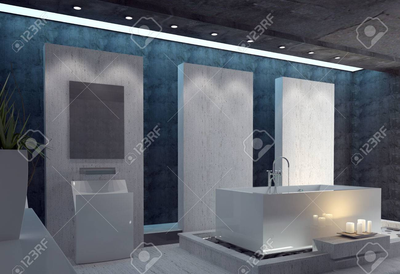 Légante salle de bains avec une suite moderne rectangulaire blanc, un  plafond noir et murs d\'accent sombres éclairé par un groupe de bougies ...