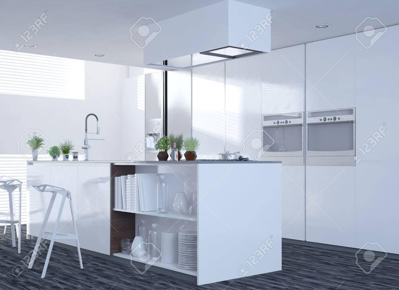 Moderne Saubere Weiße Küche Interieur Mit Einem Offenen Design Und ...