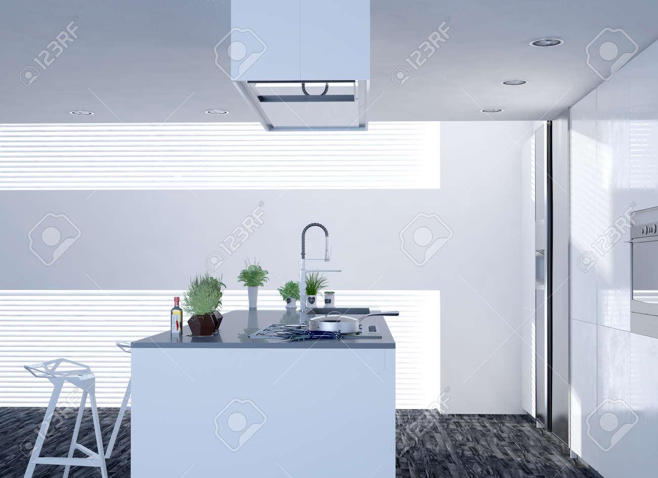Compact décloisonné lumineux, cuisine blanc avec un décor moderne et un  îlot central avec tabourets de bar, table de cuisson et l\'évier en regard  ...