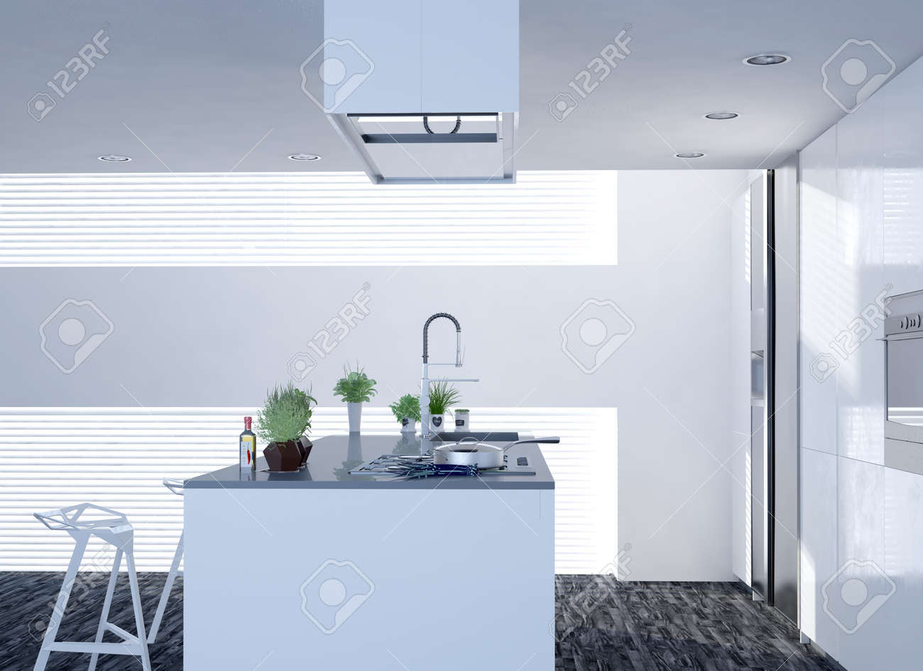 Compact open plan bright white kitchen with modern decor and