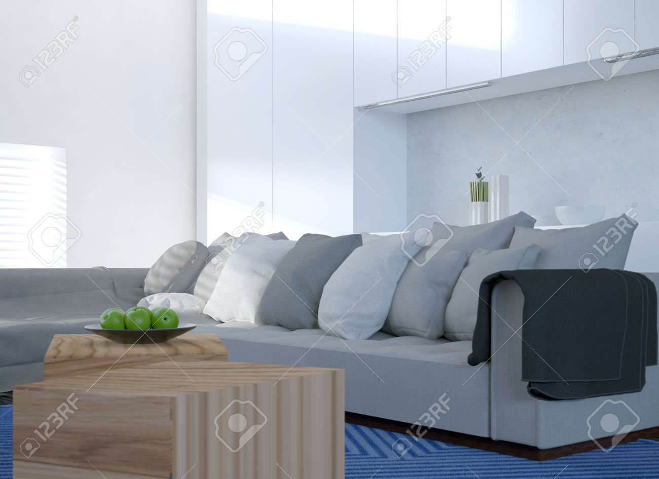 Comfortable Corner Settee In A Modern Bright White Living Room ...