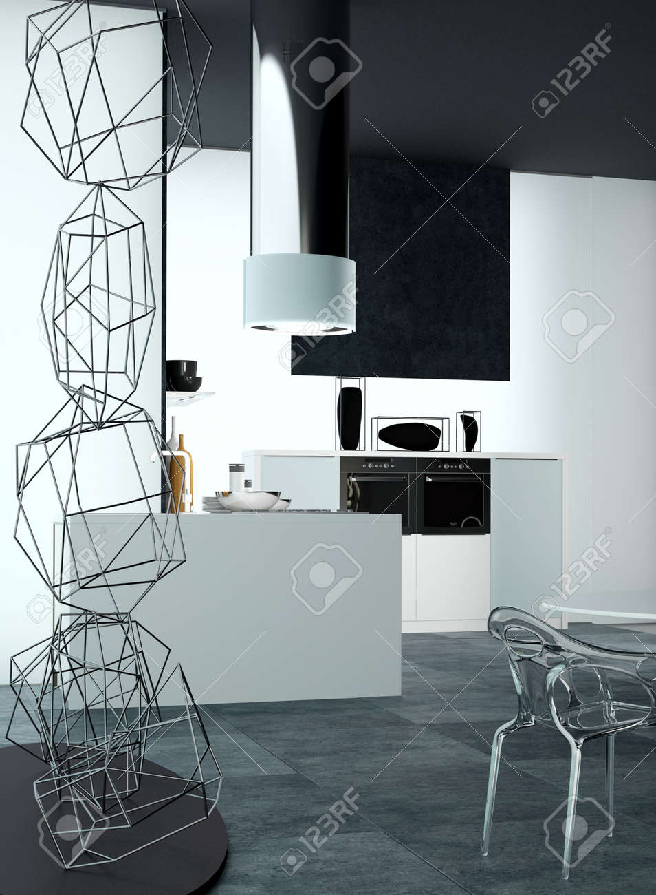 3d design of an elegant home kitchen area with wire art decoration
