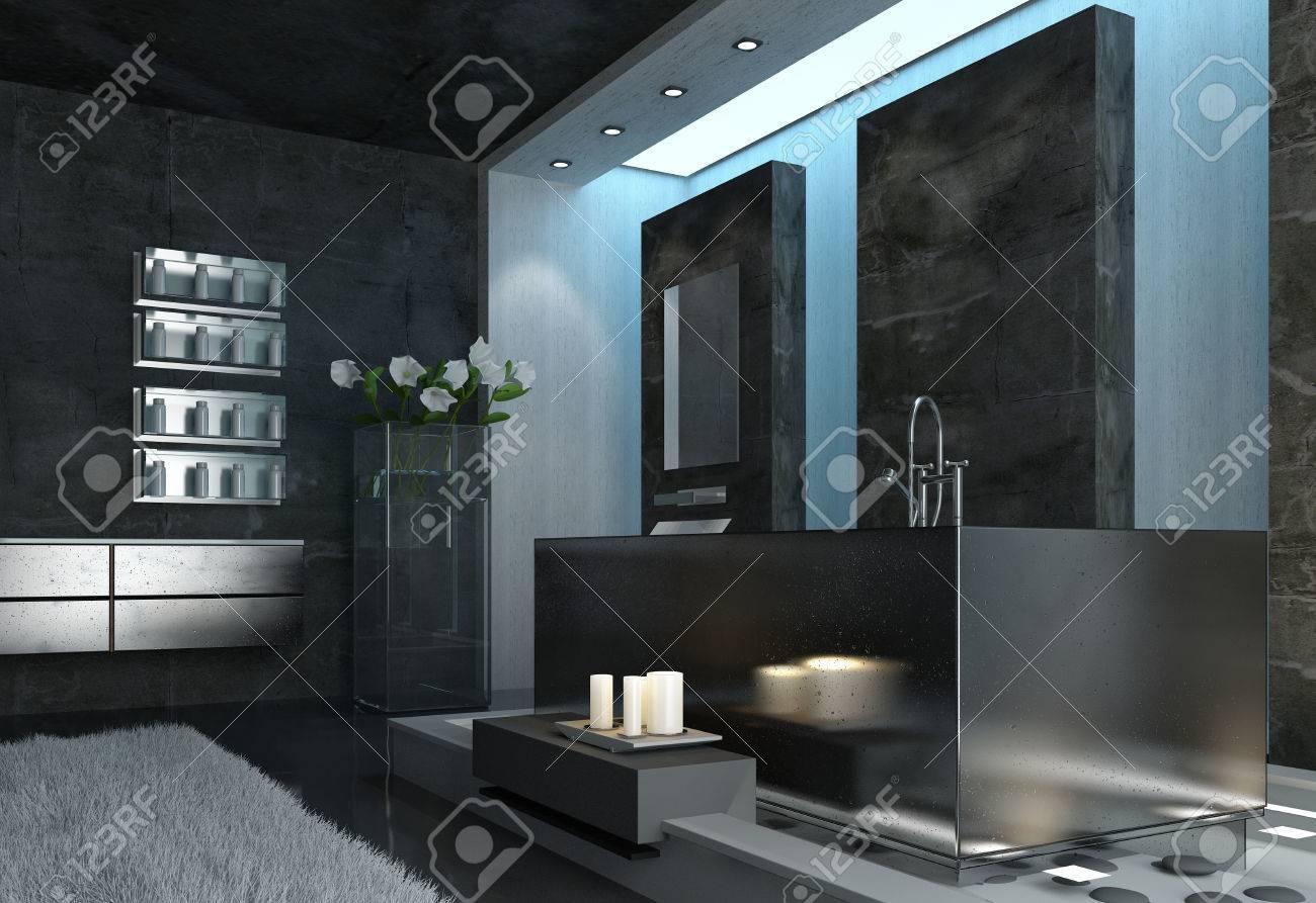 Légante Et Moderne, Salle De Bain Design Architectural Gris Avec ...