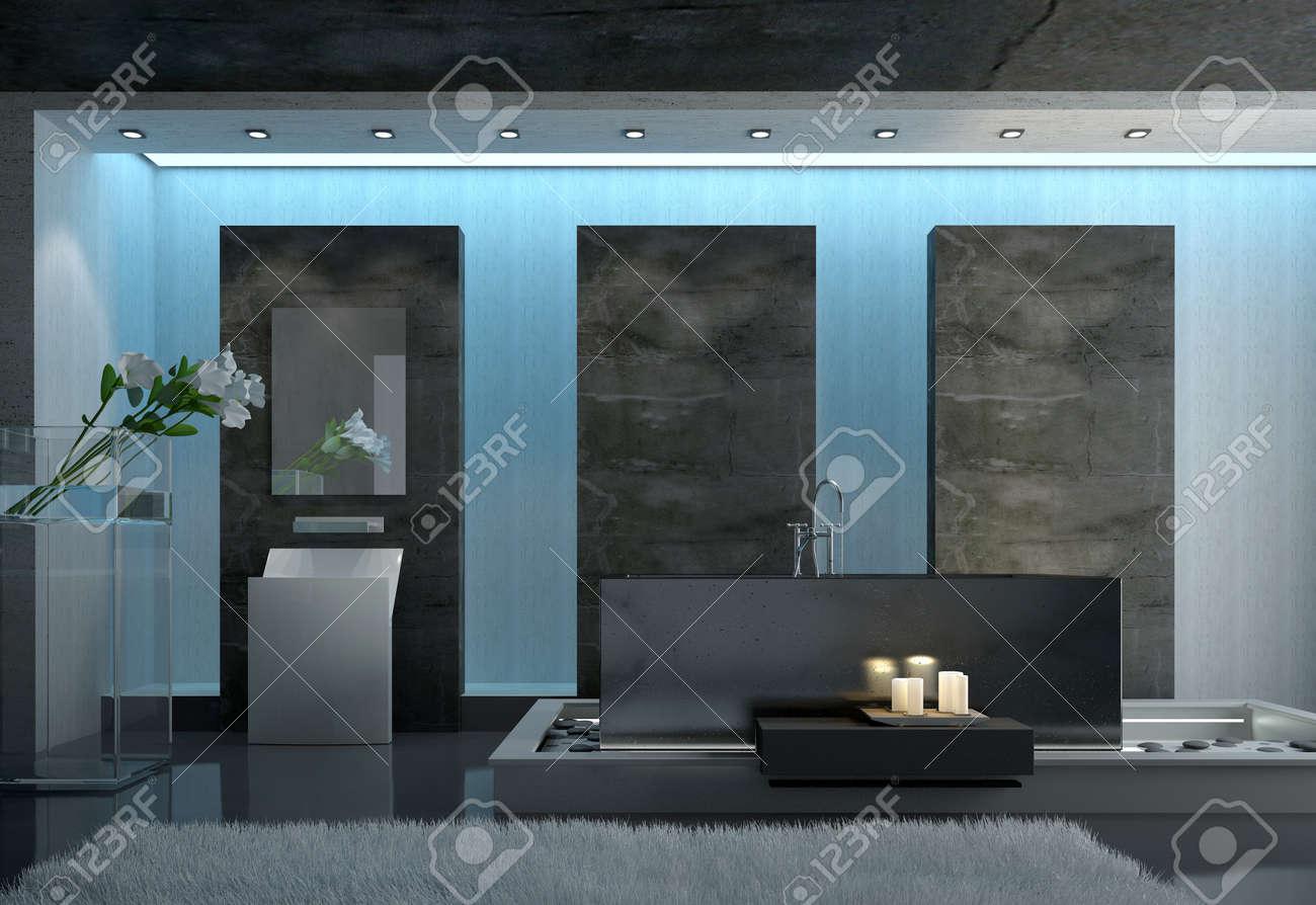 Zeitgenossische Architectural Design Eines Gray Badezimmer Mit Grau