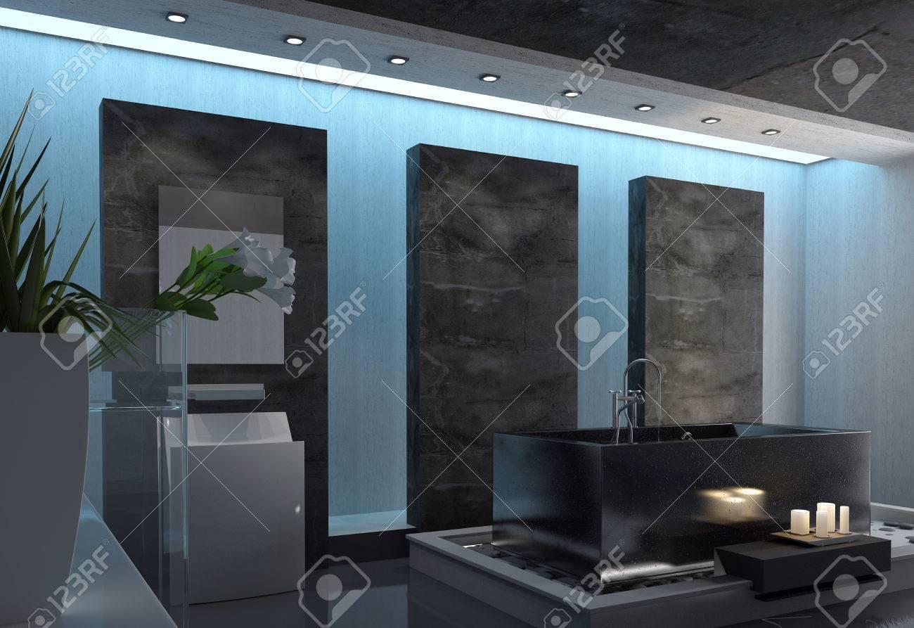 Contemporain gris et blanc architectural accueil salle de bain ...