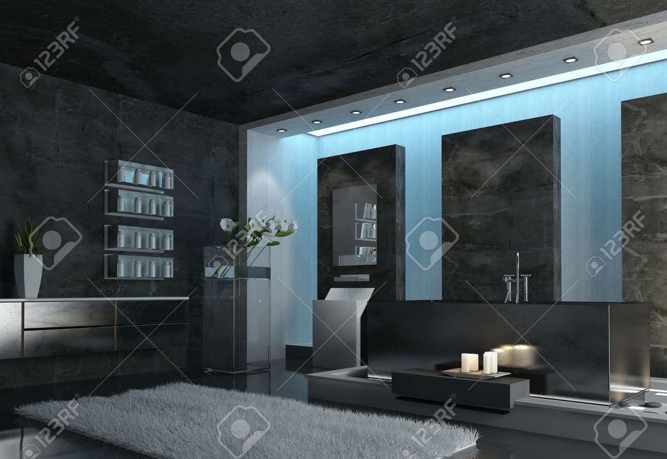 architectural interior design of a modern spacious gray bathroom with gray carpet candles and flowers