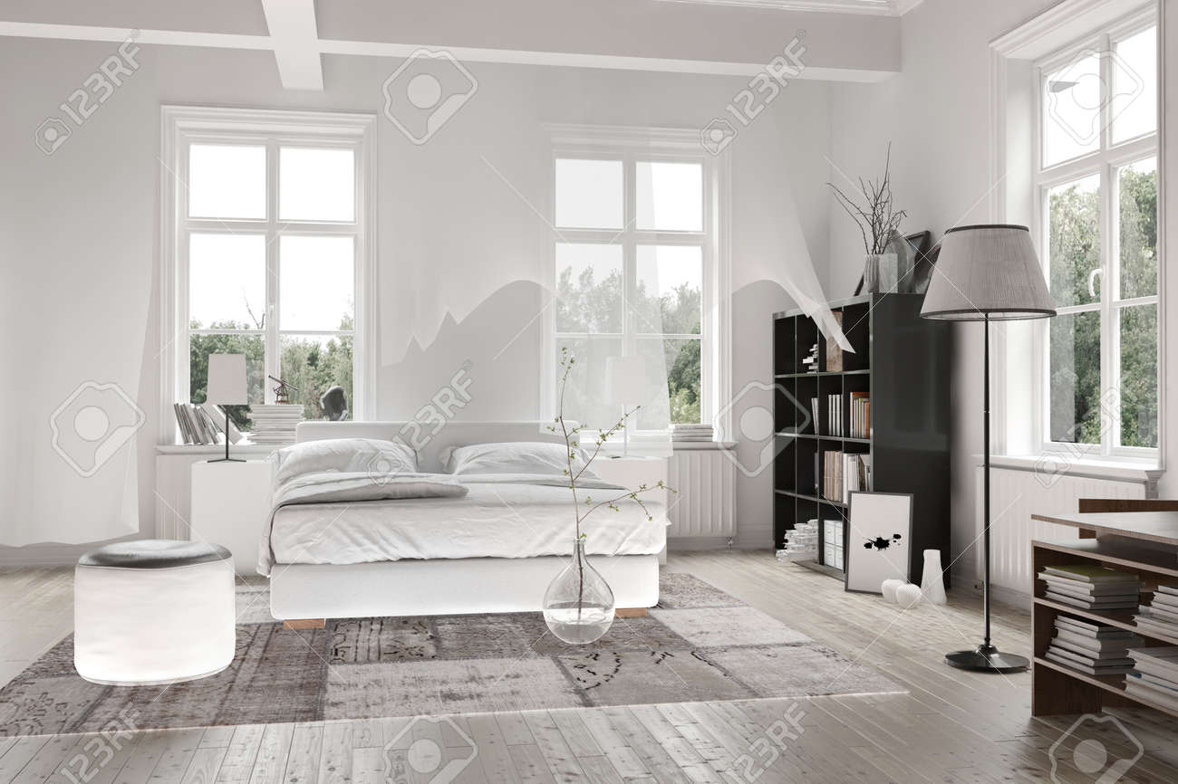 Bright Light White Spacious Monochromatic Bedroom Interior With Ceiling  Beams And A Double Bed With Rug