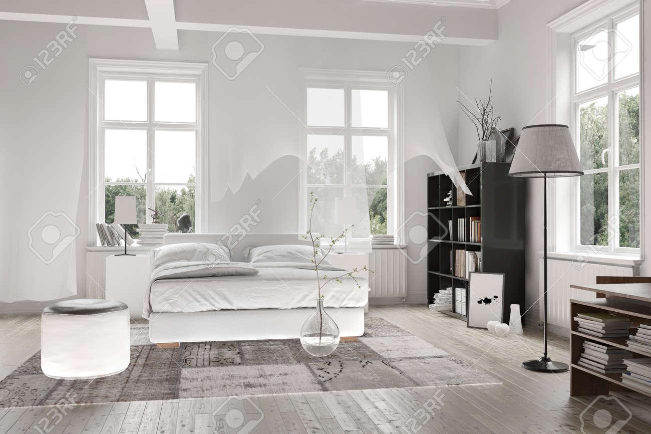 Intérieur lumineux lumière blanche monochromatique spacieuse chambre avec  poutres apparentes et d\'un lit double avec tapis sur un plancher en bois ...