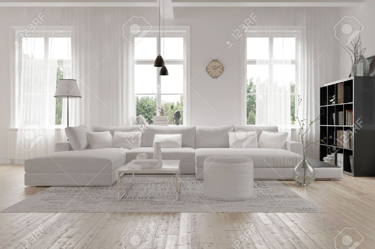 Moderne großzügige lounge oder wohnzimmer innenraum mit einfarbigen weißen möbeln und dekor unter drei große helle