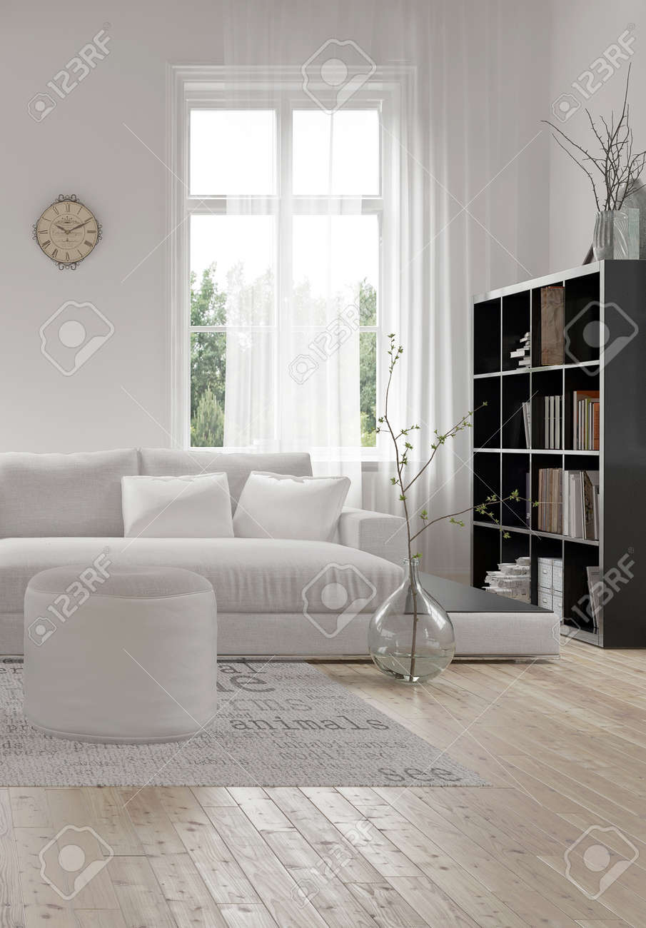 Corner Of A Comfortable White Modern Living Room With An Upholstered ...