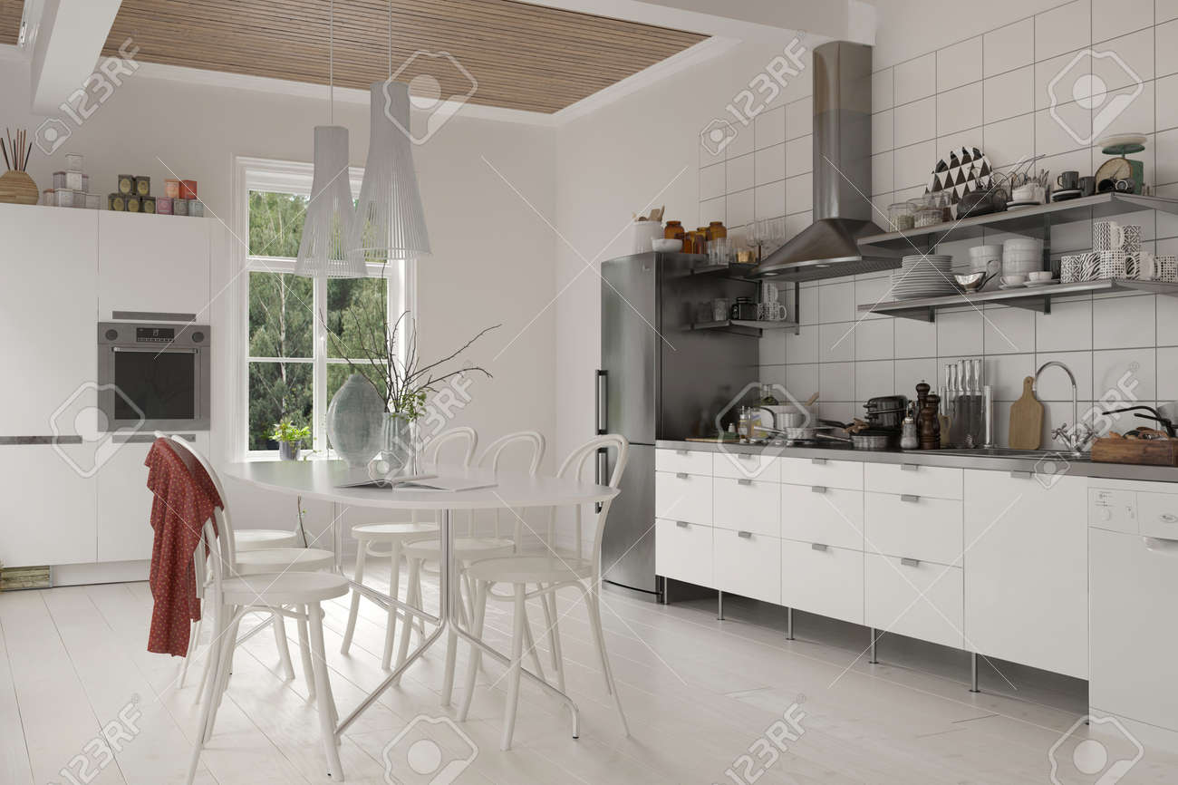 Large rustic live in kitchen with table and chairs, white wooden cabinetry  and built in