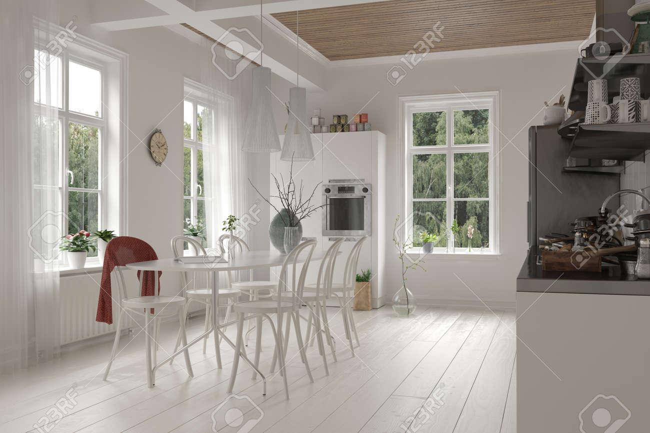 offene geräumigen weißen küche und esszimmer innenraum in einem