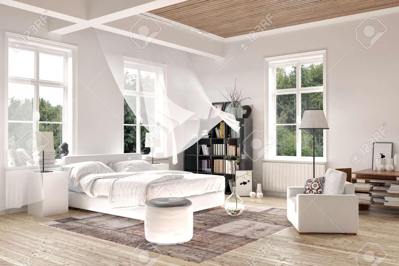 Helle Weiße Luxus Gemacht Schlafzimmer Interieur Mit Blasen Vorhänge An  Hohen Fenstern über Ein Bequemes Doppelbett