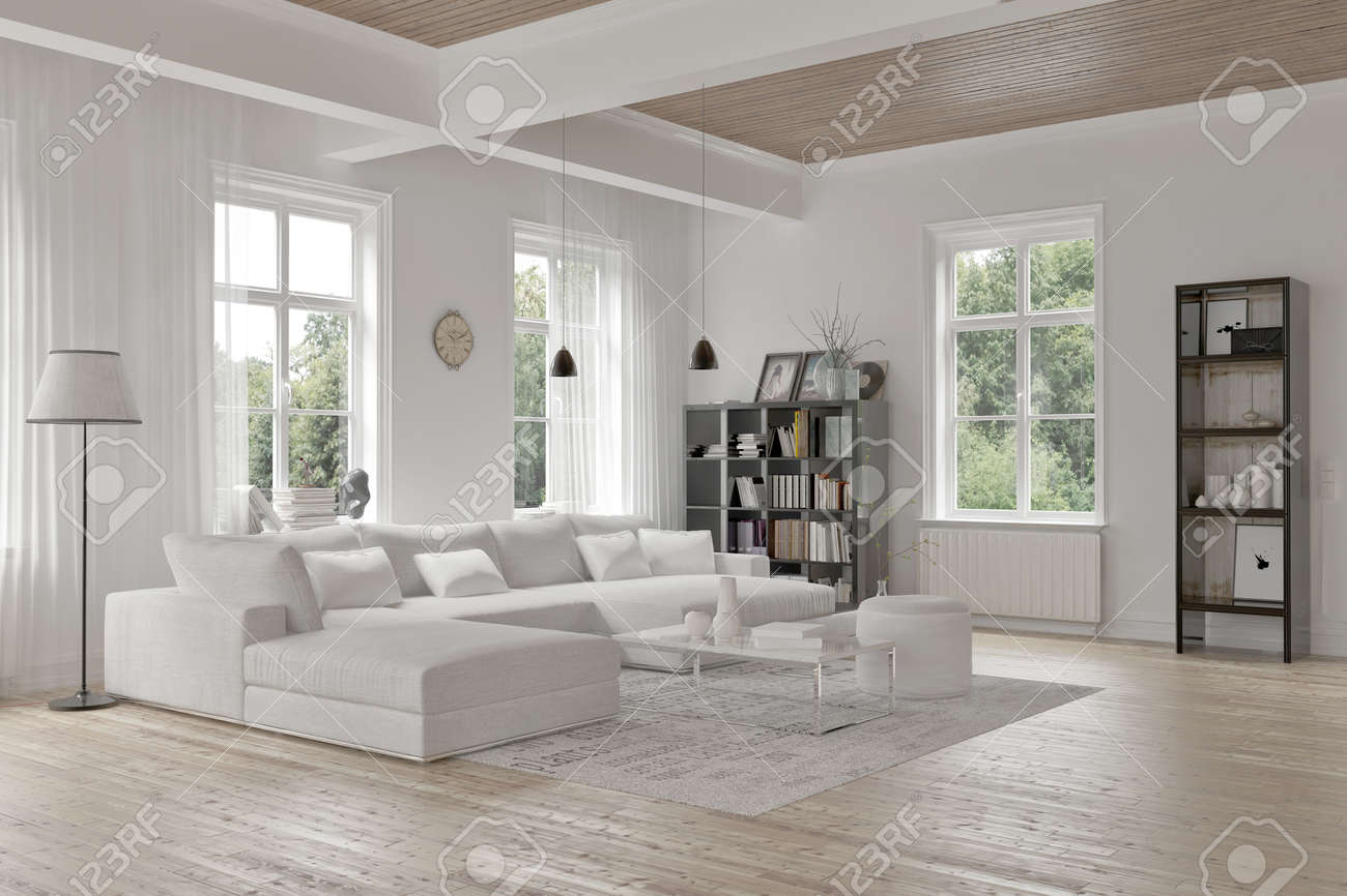 Elegant Modern Loft Living Room Interior With Monochromatic White Decor, A  Comfortable Modular Lounge Suite And