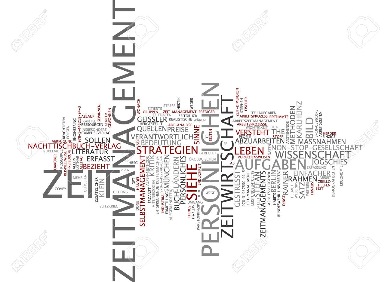 Word Cloud Of Time Management In German Language Stock Photo