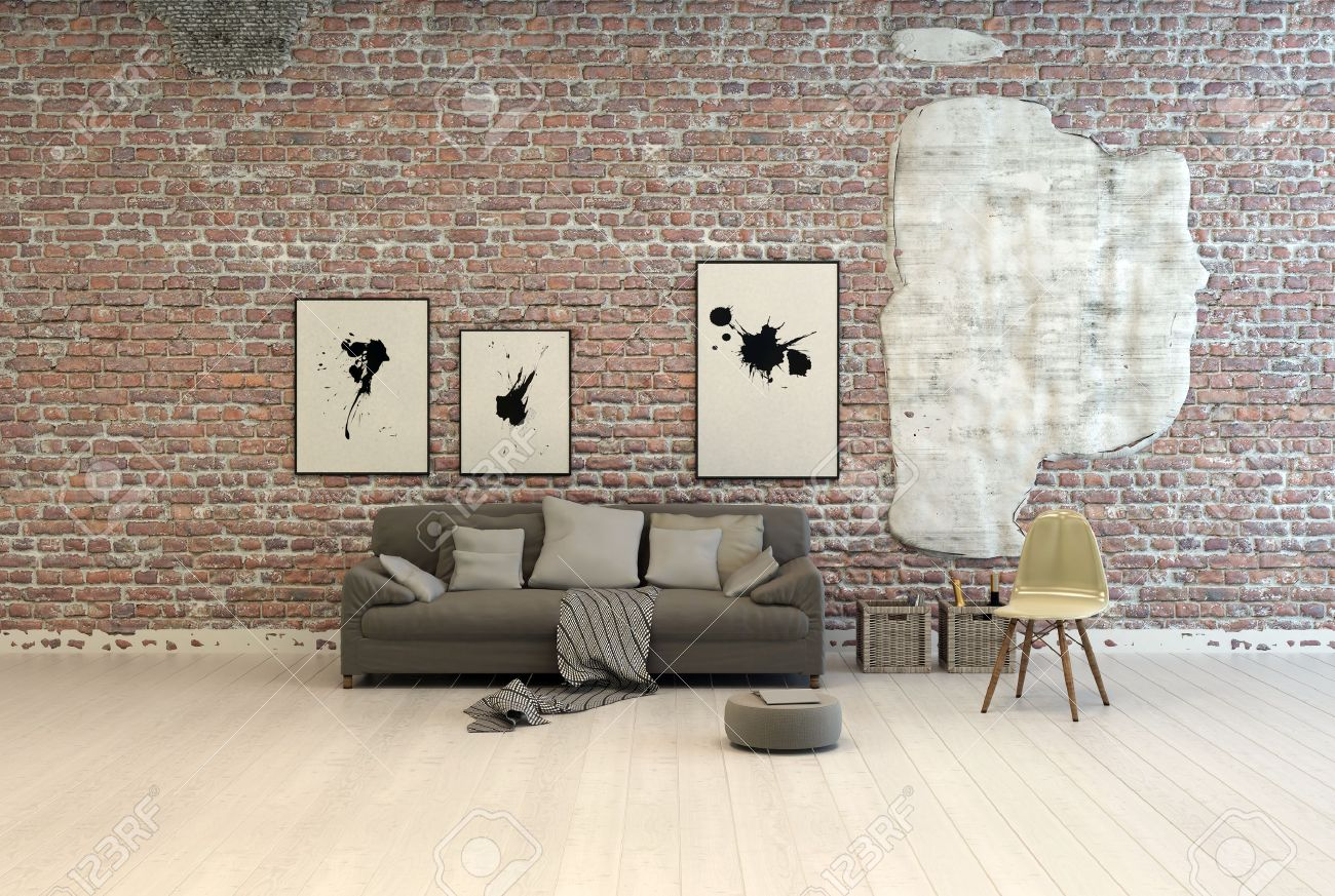 Plain wood table with hipster brick wall background stock photo - Against The Wall Generic Grey Sofa With Comfortable Cushions And Footstool Against A Brick Wall