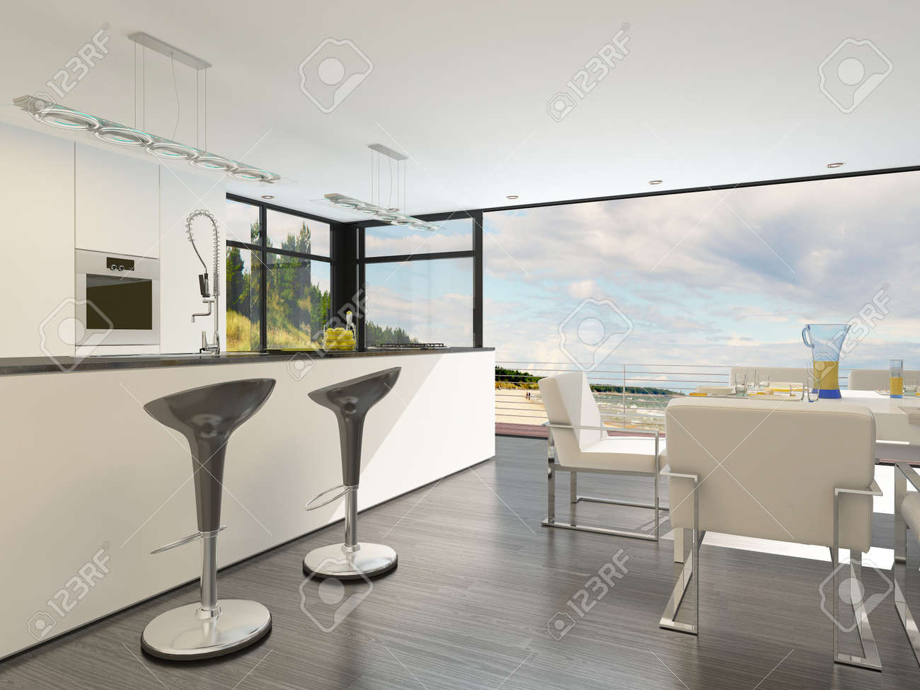 Modern Open Plan Kitchen With A Bar Counter With Stylish Contemporary Design  Bar Stools, Fitted