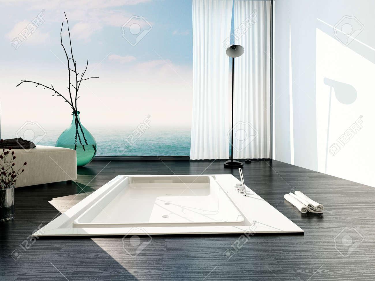 archivio fotografico vasca incassata elegante in un bagno moderno con grandi finestre a tutta altezza in vetro con tende bianche e una vista di un cielo