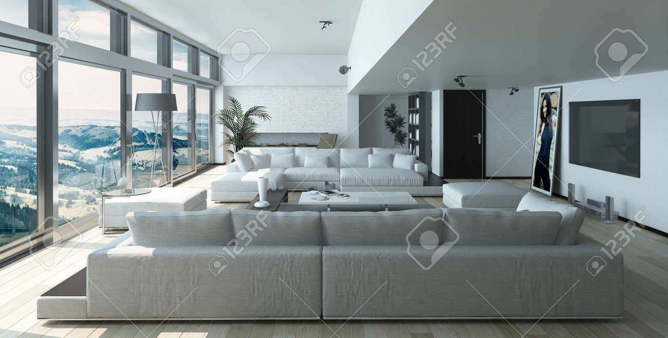Modern Residence Living Room Design with Elegant Furniture and..