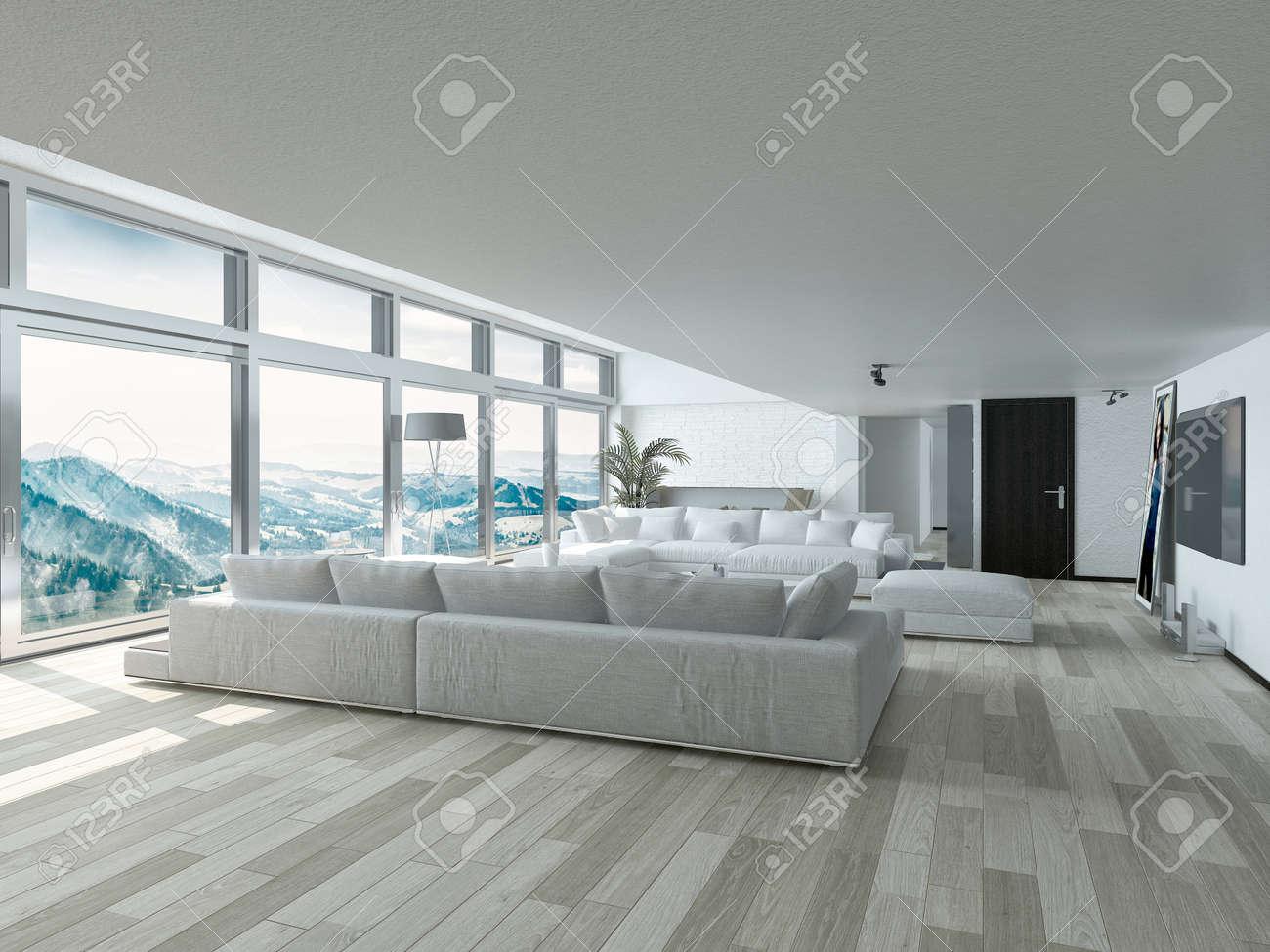 Moderne Wohnzimmer Design Mit Eleganten Weißen Couches Und Tabelle,  Innenarchitekturhaus Mit Glasfenstern Stil Standard