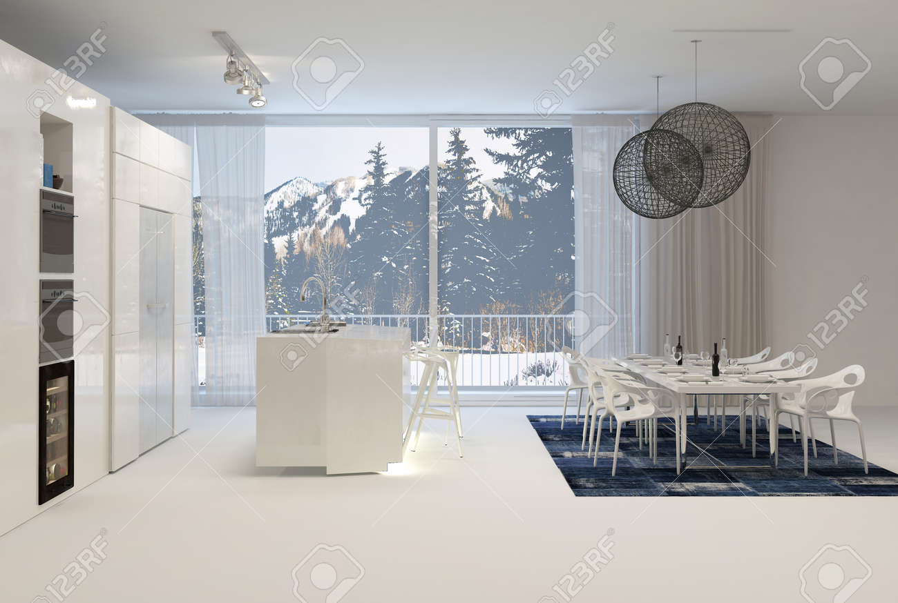 Modern White Kitchen With Eat In Dining Table And Large Windows ...