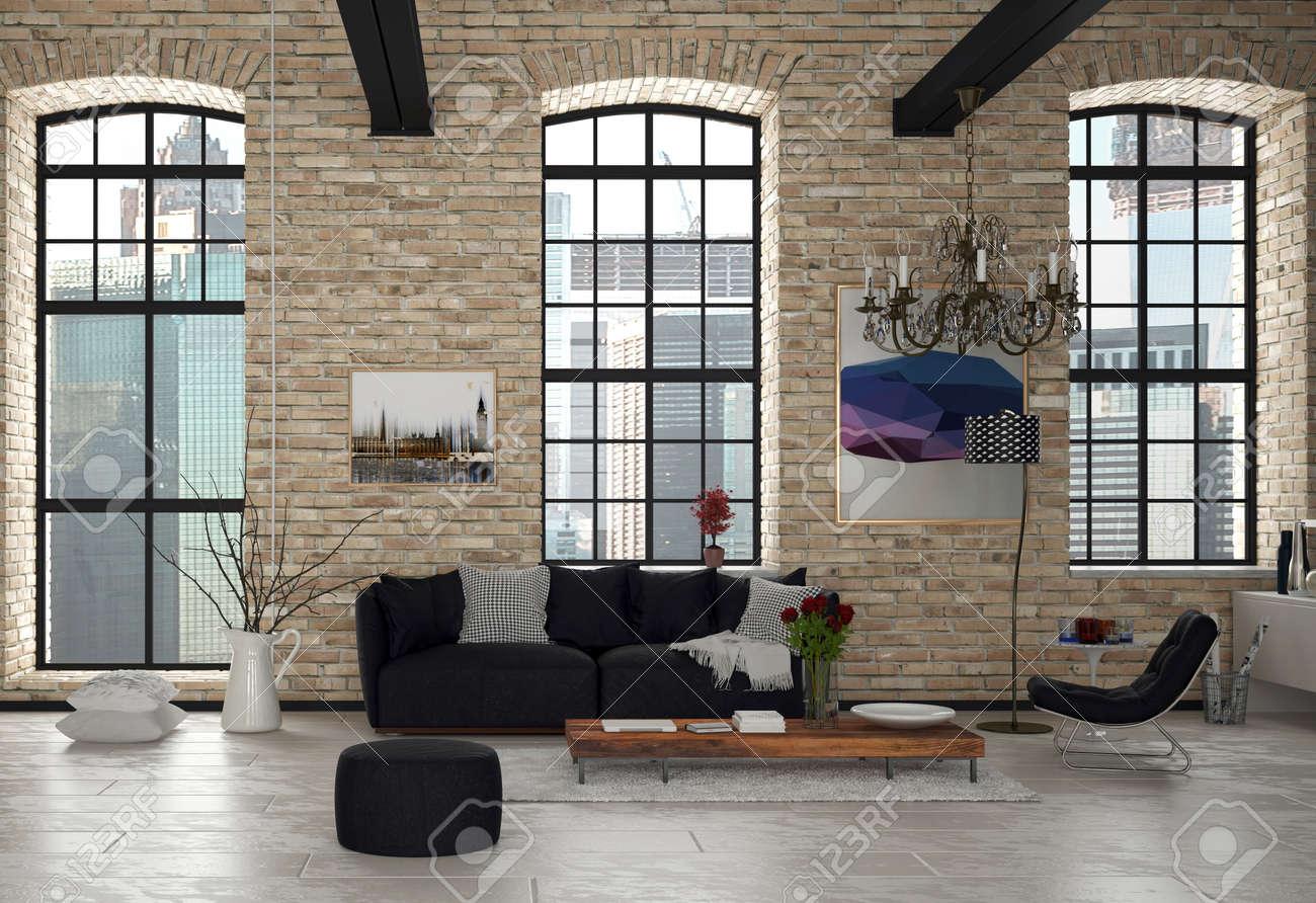 Standard Bild   Stilvolles Modernes Wohnzimmer Inneren Architectural  Building With Black Stühle, Holztisch Und Kronleuchter.