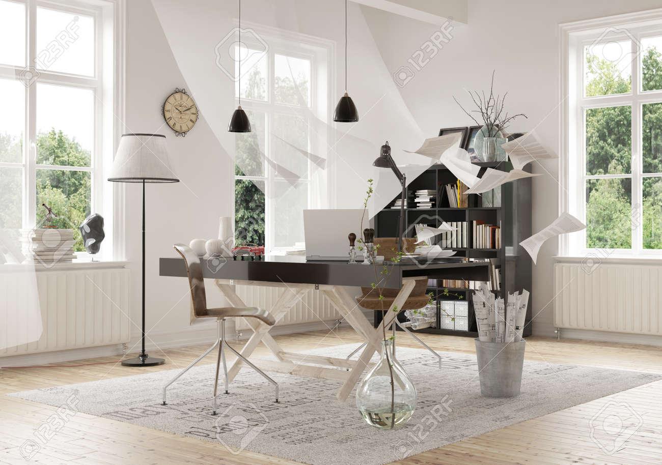 Zeitgenössische Architektur Interior Design Von Einem Arbeitsbereich ...
