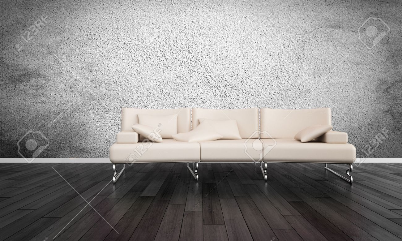 Modern White Sofa In Empty Room With Hardwood Floors And Grey