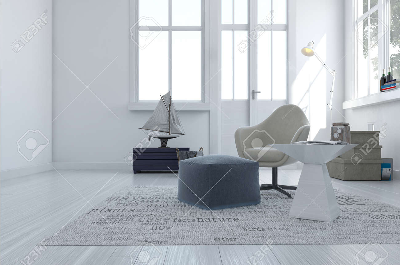 3d Render Of A Minimalist Modern Living Area With A Comfortable Armchair  And Pouffe In A