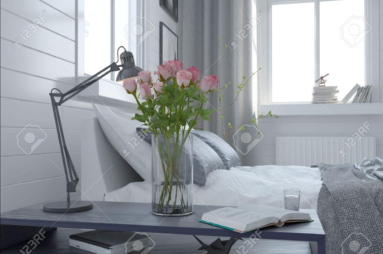 Mooie Vaas Van Verse Roze Rozen In Een Moderne Slaapkamer ...
