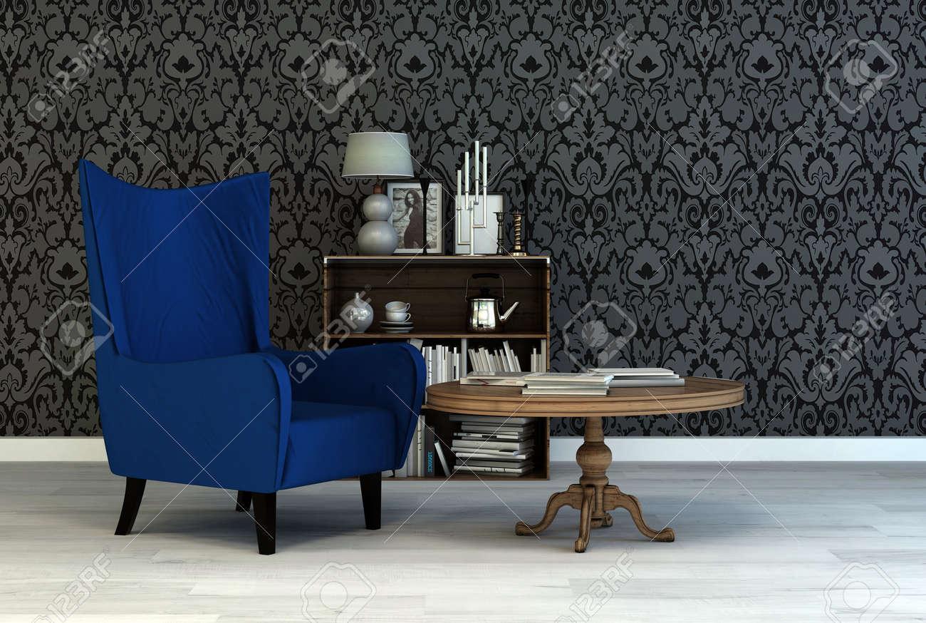 Simple fauteuil bleu vintage dans un salon intérieur classique avec du  papier peint arabesque une petite table et bibliothèque avec des livres et  ...