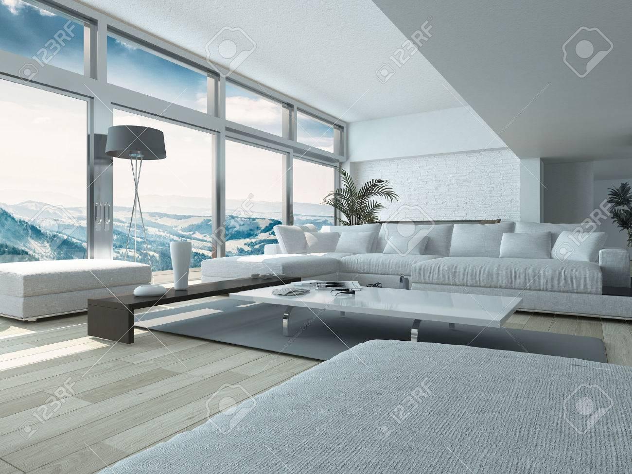 Moderna vardagsrum design, med eleganta vita soffor och bord ...