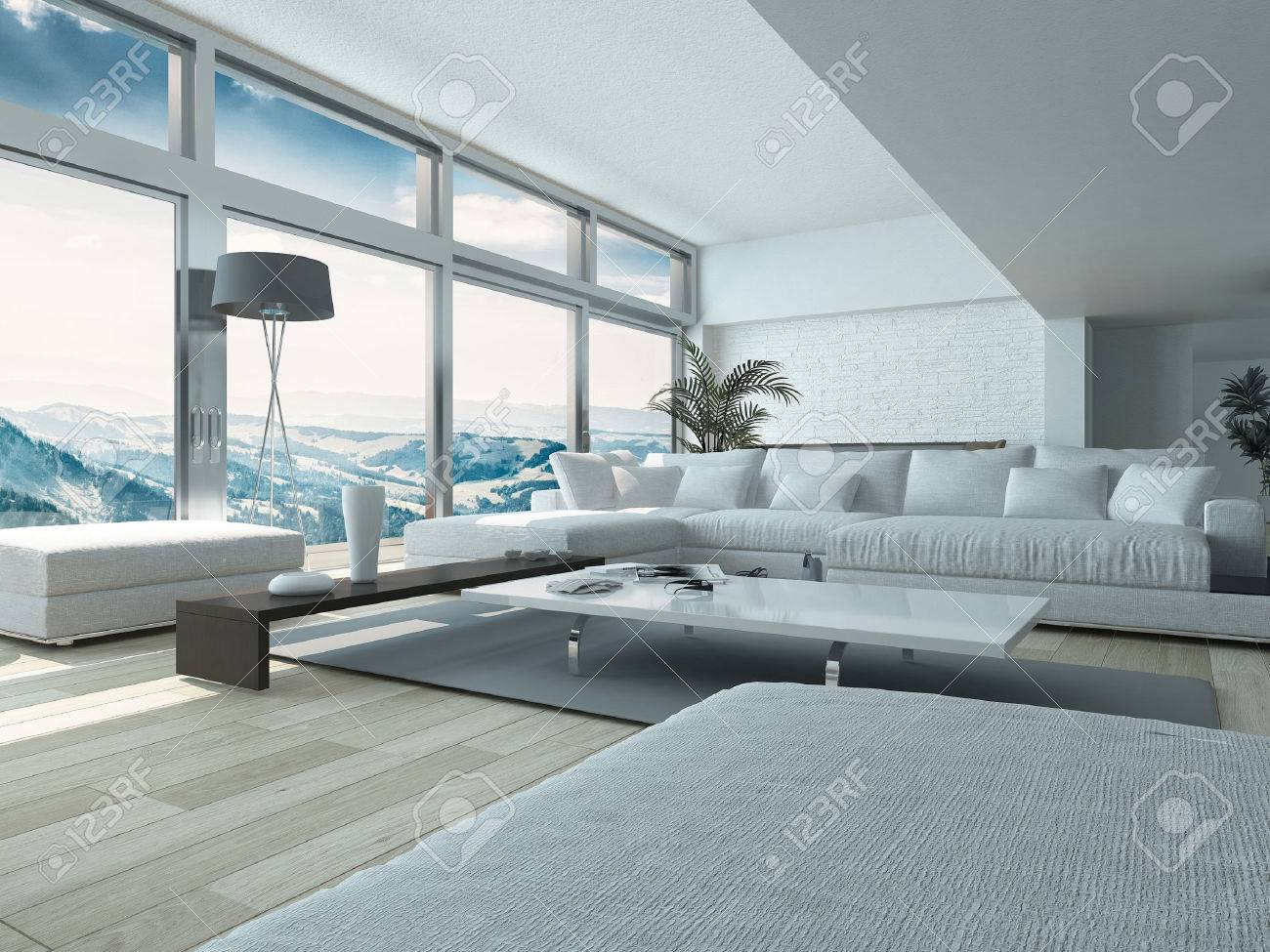 Modern Living Room Design, with Elegant White Couches and Table,..