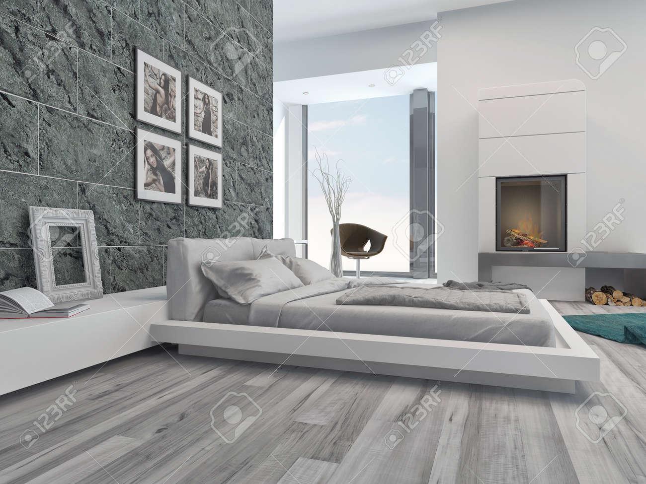 modern interior camera da letto con eleganti decorazioni grigio ... - Decorare Con Pareti Grigie