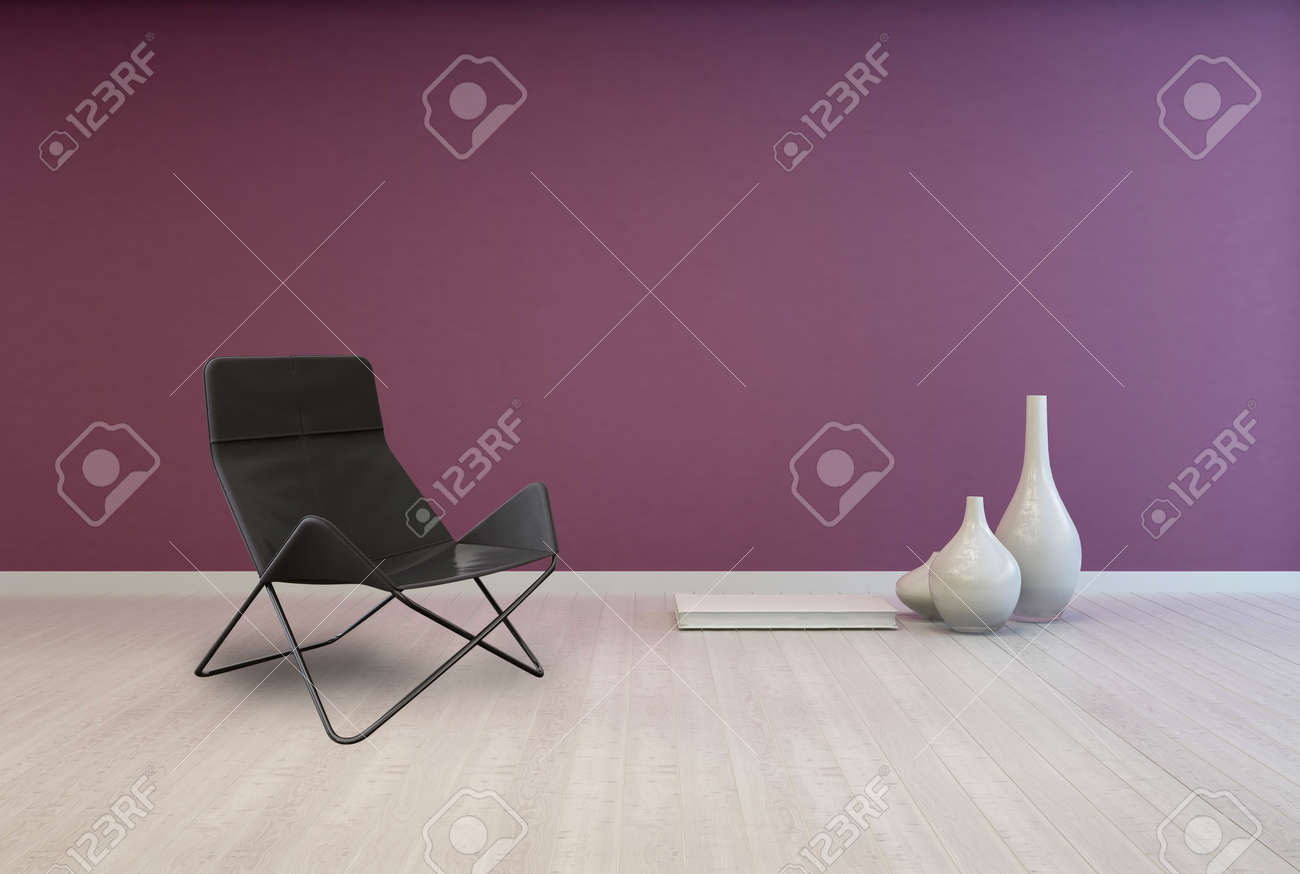 Astounding Folding Black Lounge Chair And White Elegant Vases On Empty Room Pabps2019 Chair Design Images Pabps2019Com