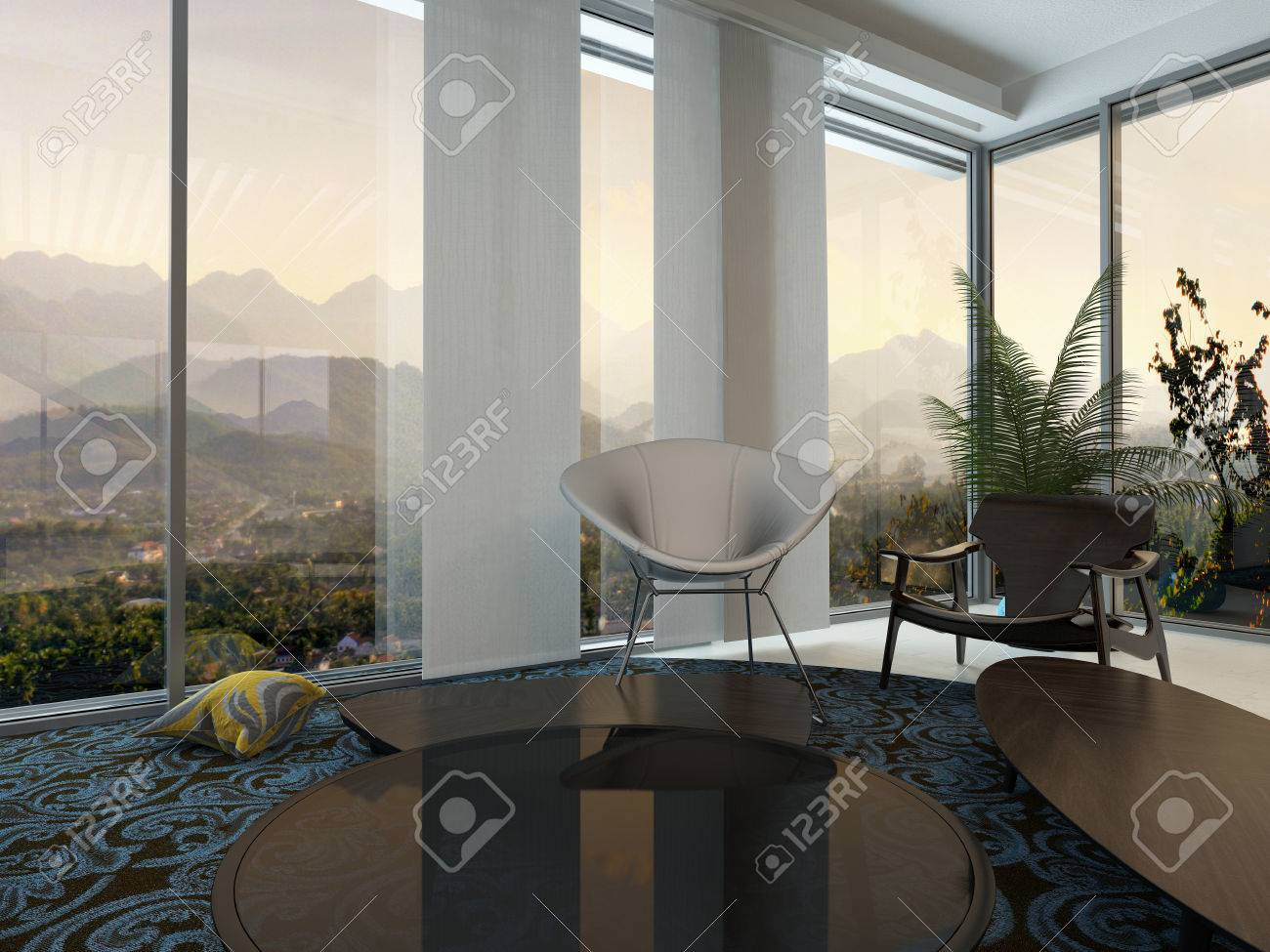 Elegante Moderne Wohnraumgestaltung In Einem Architektur Residenz ...