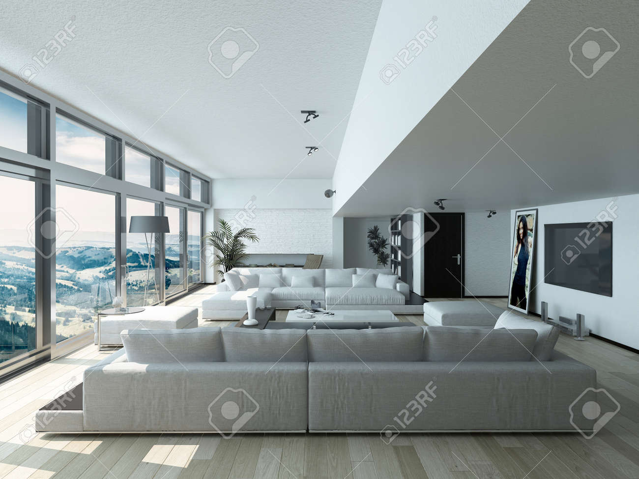 Modern Living Room Design with Elegant Couches Inside Architectural..