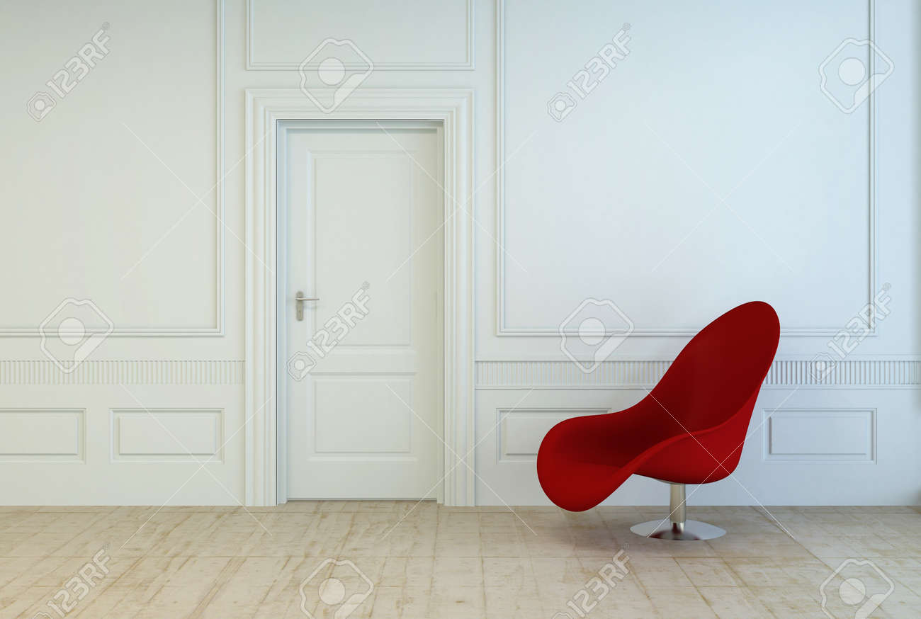 Single Red Modular Chair In An Empty Room With White Wood Paneling And A Closed Door