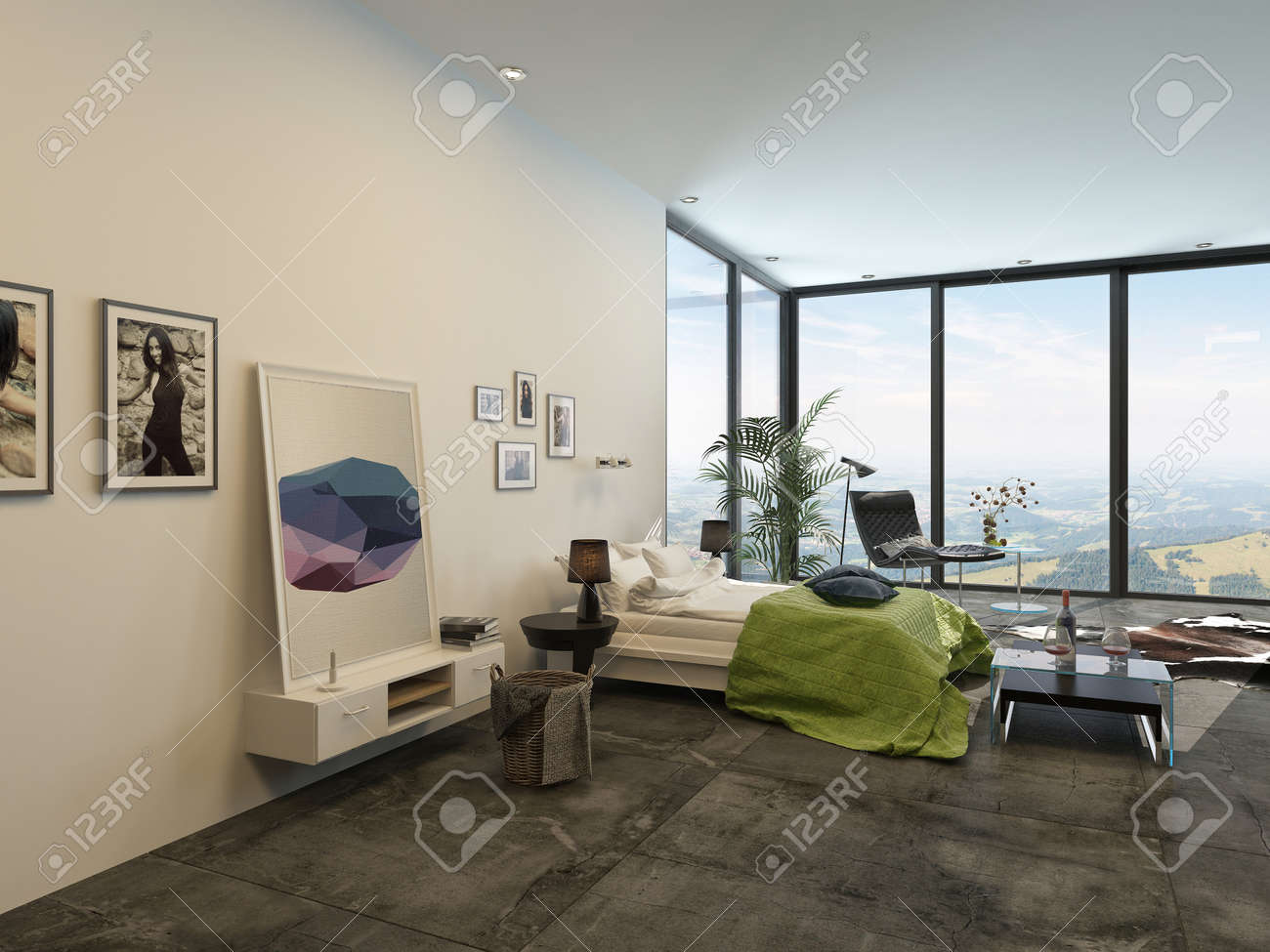 Ruime lichte moderne interieur slaapkamer met grote ramen van ...
