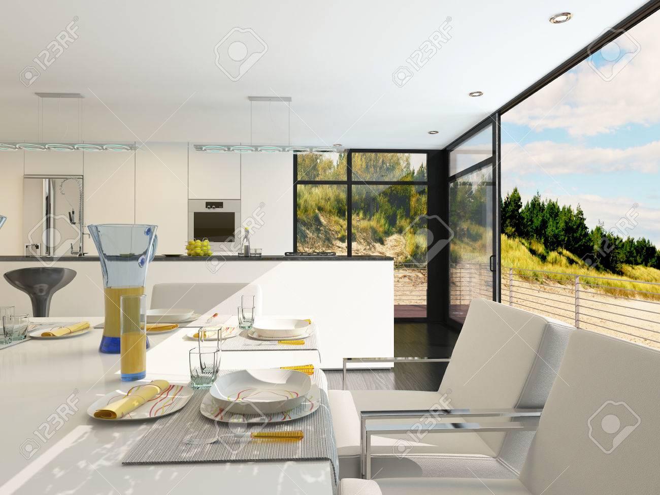 Moderno Comedor De Planta Abierta Con Ajustes Elegantes Lugar En Una ...