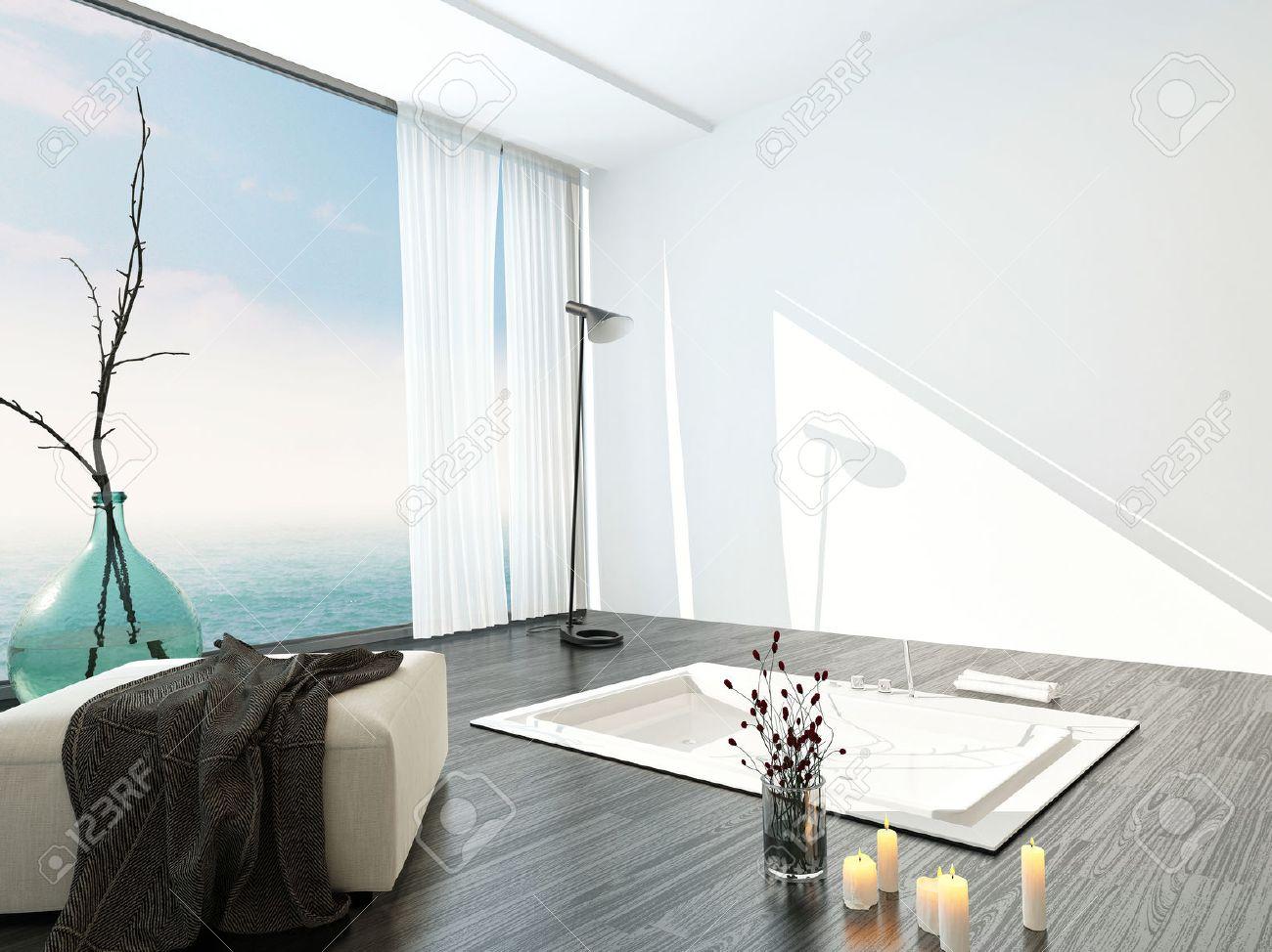 Ljusa luftiga modern badrumsinredning med ett stort golv till tak ...