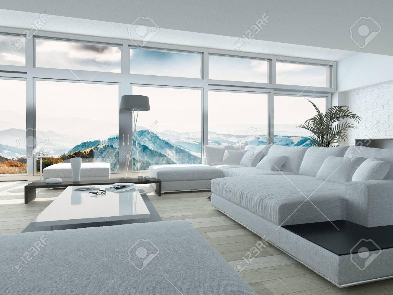 Elegantes Wohnzimmer-Design Mit Weißen Möbeln, Innenarchitektur ...