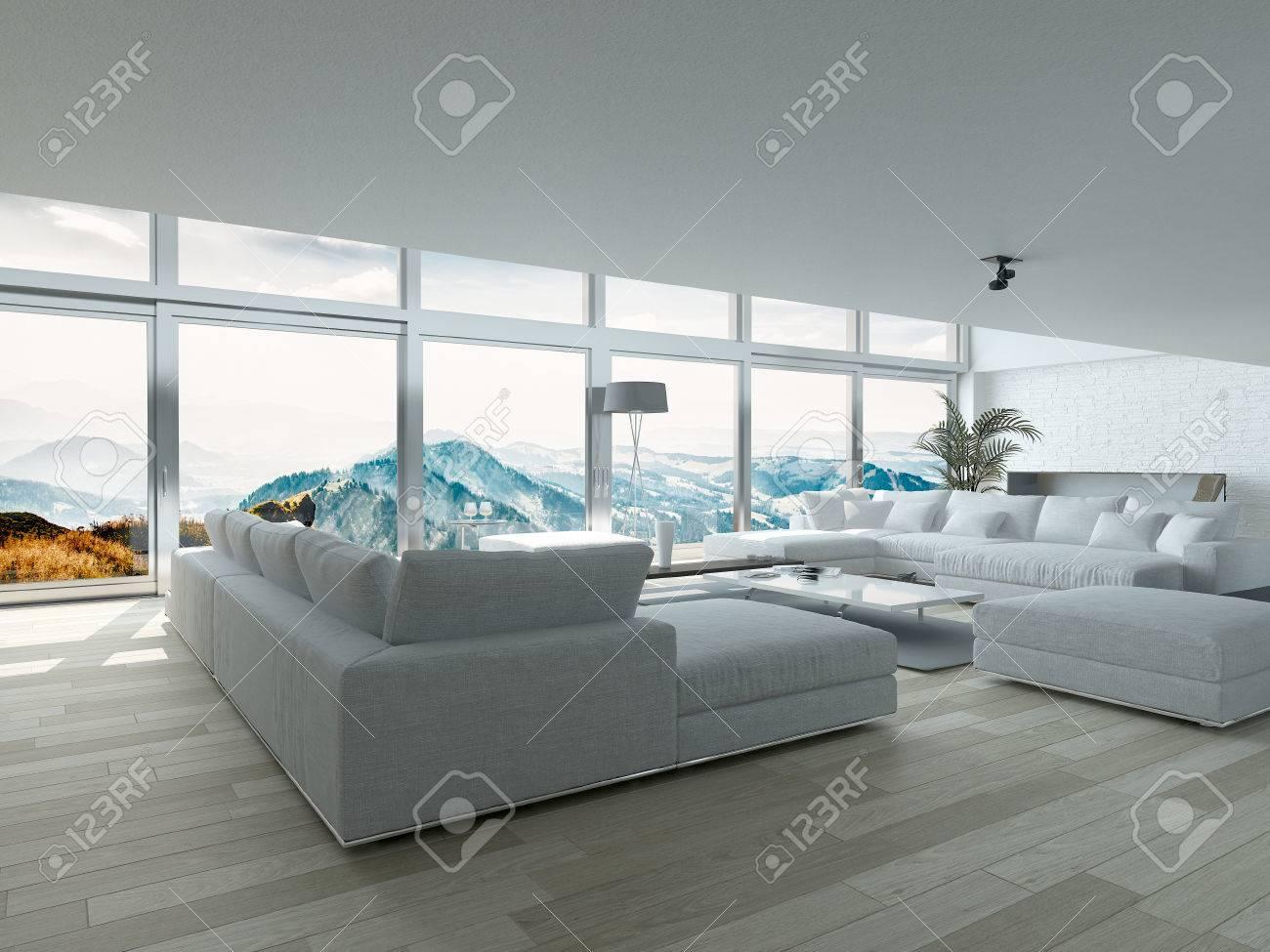 . Modern Residence Living Room Design with Elegant Furniture and