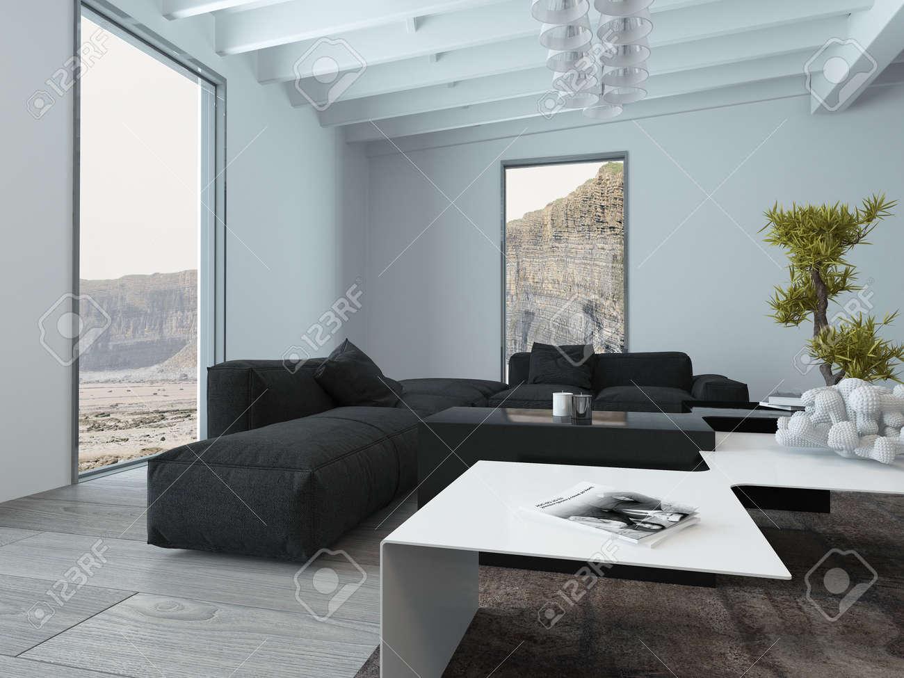 Intérieur d\'un salon avec canapé et meubles moderne Table et vue sur les  falaises Through Windows