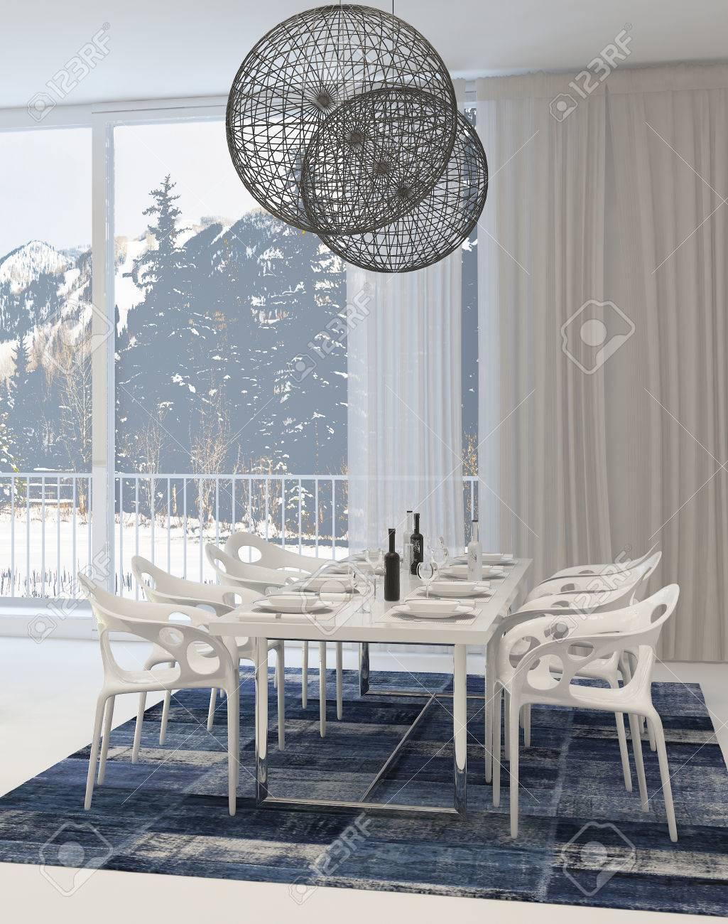 Moderne Esszimmer Mit Weißen Tisch Und Stühlen Und Globe Leuchten Und  Ansicht Der Snowy Mountains Through