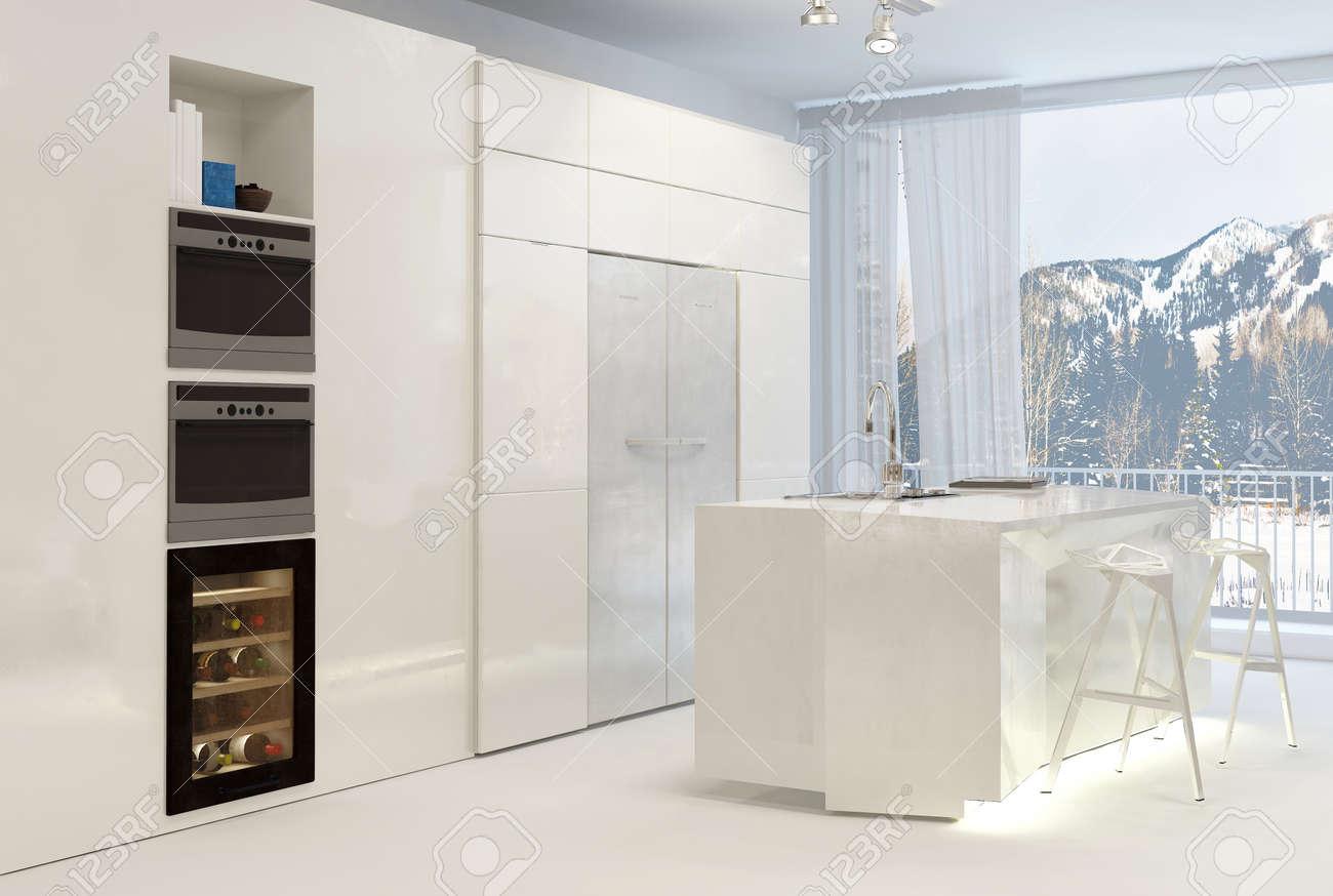 Saubere Weiss Modern Kuche Mit Kochinsel Und Blick Auf Schneebedeckte